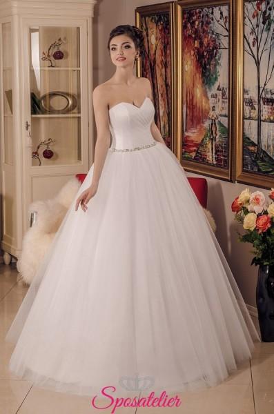 Agata – Vestito da Sposa Nuova collezione con corpetto di raso e cinta con strass
