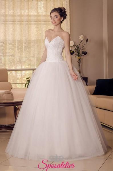 Amelya – Vestito da Sposa Nuova collezione semplice con corpetto di pizzo
