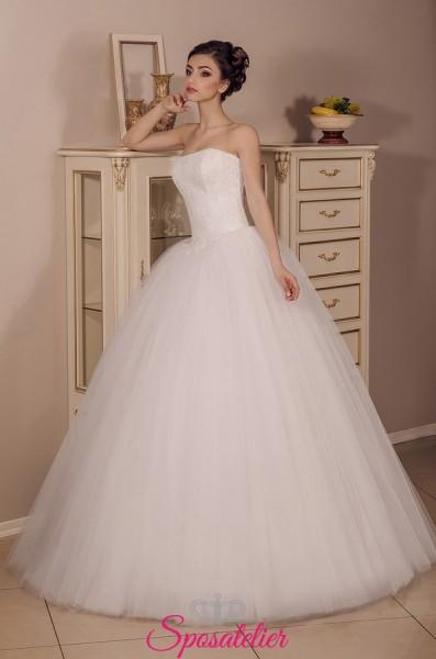 vestiti da sposa economici online a palloncino con scollo a cuore