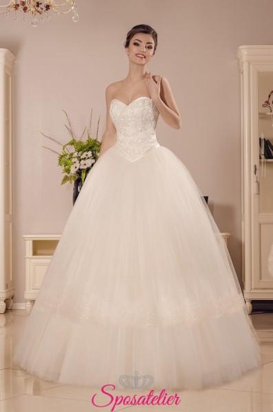 vestiti da sposa economici online a palloncino con corpetto a cuore