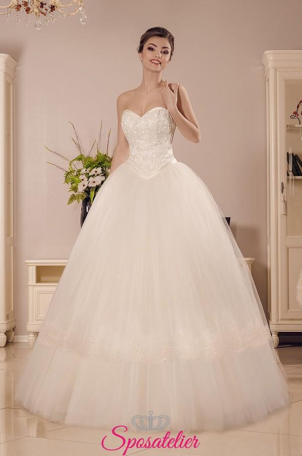 detailed look cceb0 6e3a6 vestiti da sposa economici online a palloncino con corpetto a cuore