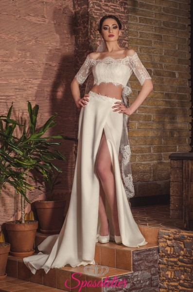 MEMENA – Abito da sposa crop top corpetto e gonna trend