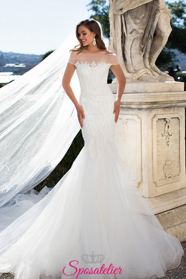 24d83ea0563c abiti da sposa a sirena economico online Italia con scollo a barca 2017