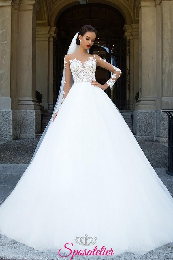 spesso abiti da sposa in pizzo principesco con maniche di pizzo  TK78