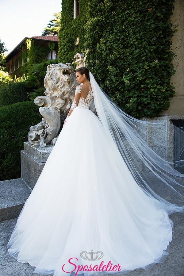 3b727dfa7400 abiti da sposa in pizzo principesco con maniche di pizzo 2017Sposatelier