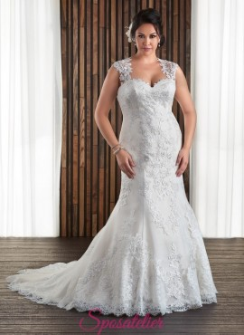 MATY -abiti da sposa a sirena con spalline per taglie forti