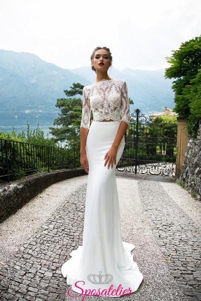 vestiti da sposa pizzo crop top corpetto e gonna vendita online