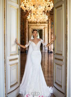 VENUSEE – vestiti da sposa in  pizzo a sirena online com maniche 3/4 economici italia