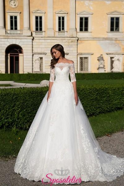 IRYZIA – abiti da sposa in pizzo principesco con scollo omerale new collection