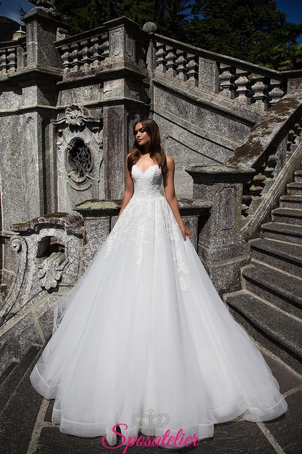 Favorito abiti da sposa in pizzo super principesco con scollo a cuore  NI92