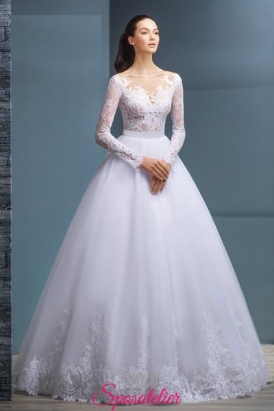 INVIDYA – abiti da sposa con corpetto e maniche in pizzo economico vendita online