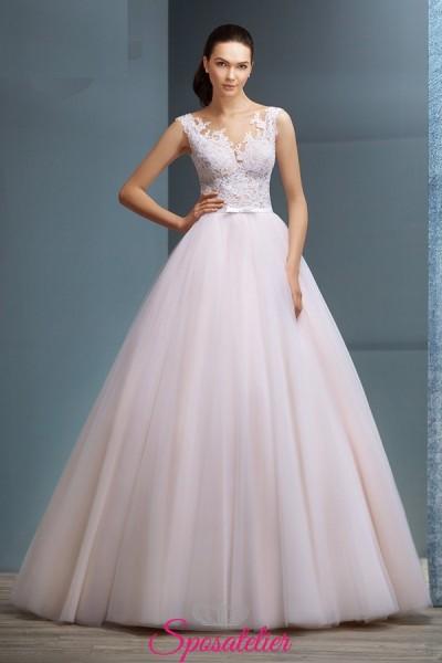 JUTA – abiti da sposa in pizzo rosa delicato ricamato economico