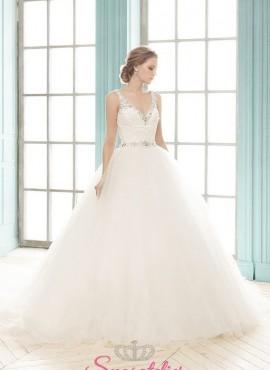 HERNESTA – abiti da sposa con scollo a v decorato con strass e gonna a palloncino