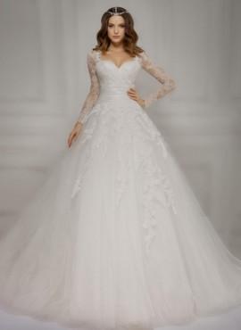 abito da sposa ampio con maniche lunghe di pizzo Economico online