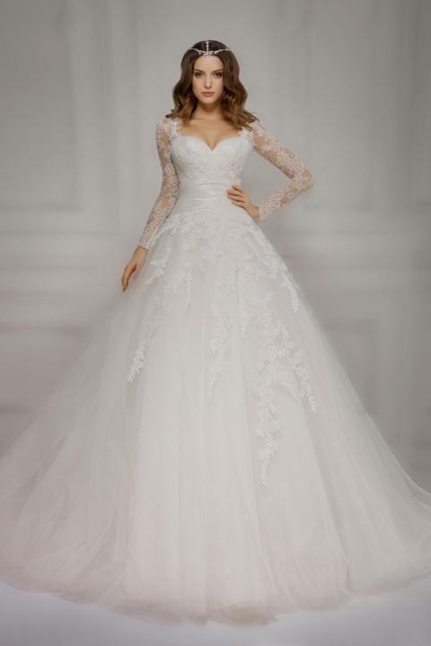 e2314f711efe abito da sposa ampio con maniche lunghe di pizzo Economico online