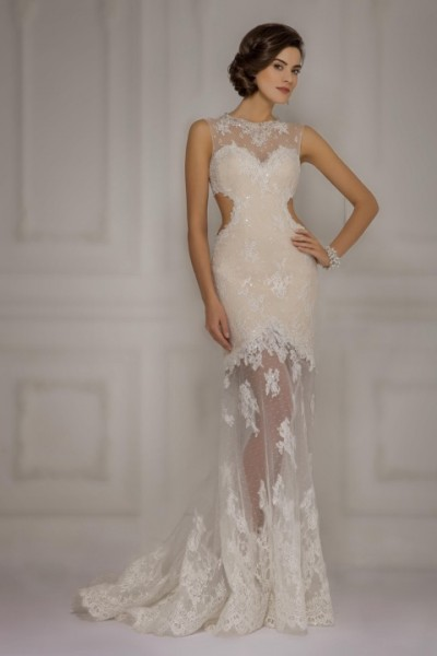 Vestito da sposa con gonna trasparente e ricami in pizzo