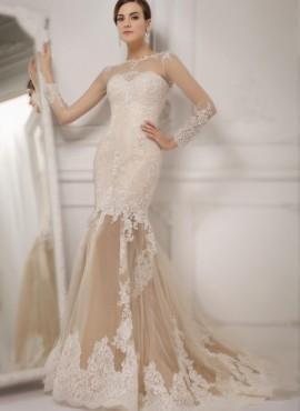 Vestito da sposa colorato con gonna trasparente e ricami in pizzo Online