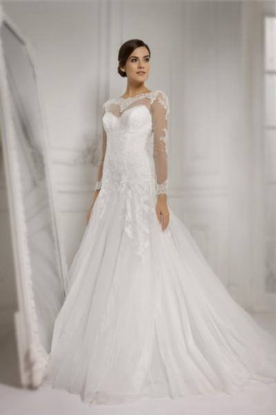 abito da sposa italia ampio con maniche lunghe con pizzo Economico online