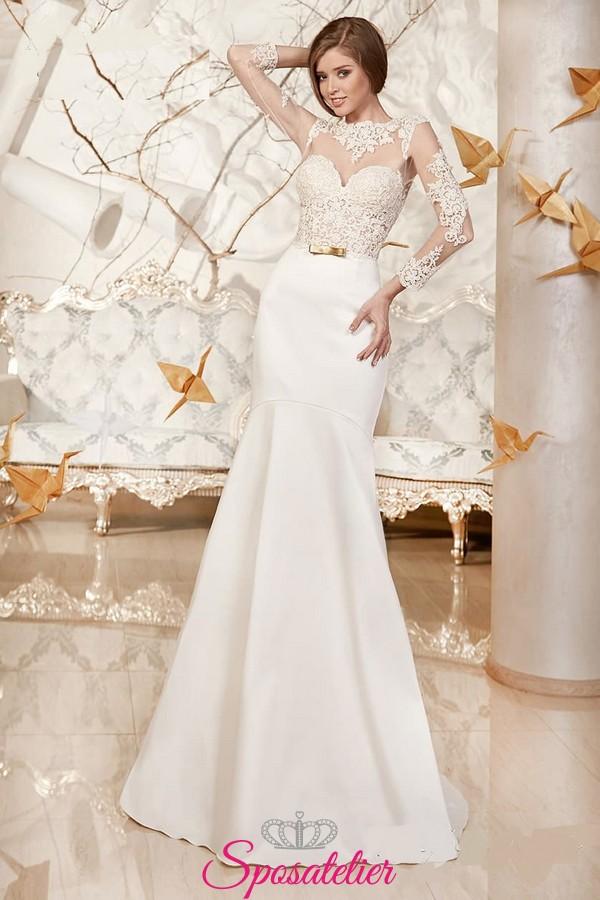 ecca7c2d8c49 abito da sposa con scollatura velata sensuale e maniche lunghe in saldo 2017