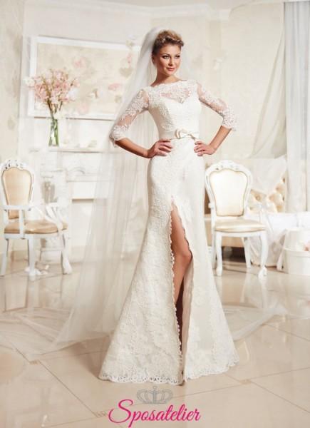 SPAKKA – Vestito da Sposa  a sirena con spacco centrale economico online