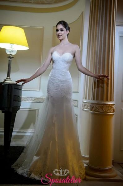 abiti da sposa a sirena con scollo a cuore  economico online