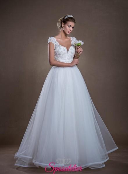 quality design 426bb 23a9c Brescia-abiti da sposa Economici online a trapezio con orlo in raso