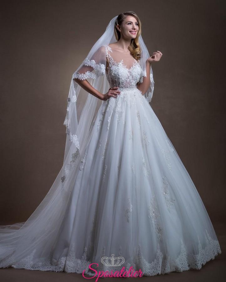 b17787355495 Abito da sposa 2018 modello principesco con gonna in tulle corpetto a cuore