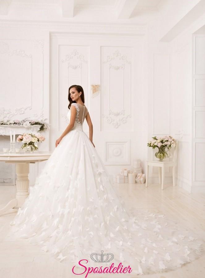 Eccezionale abiti da sposa 2018 ampio con strascico lungo vendita  KE26