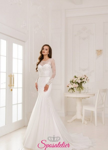 abiti da sposa in pizzo con maniche in pizzo chantilly 2018
