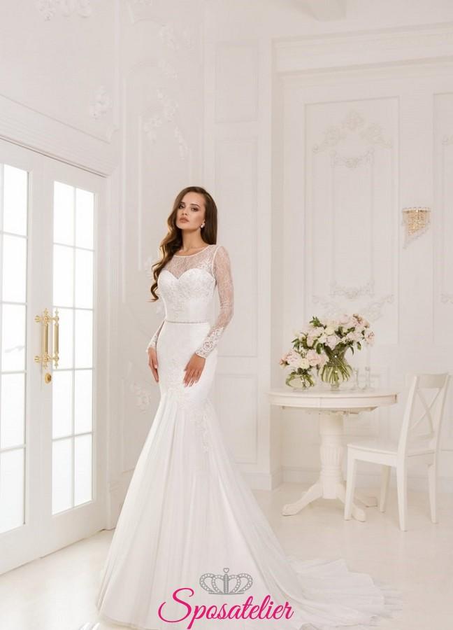 abiti da sposa in pizzo con maniche in pizzo chantilly 2018Sposatelier 6d9bfbff8c5