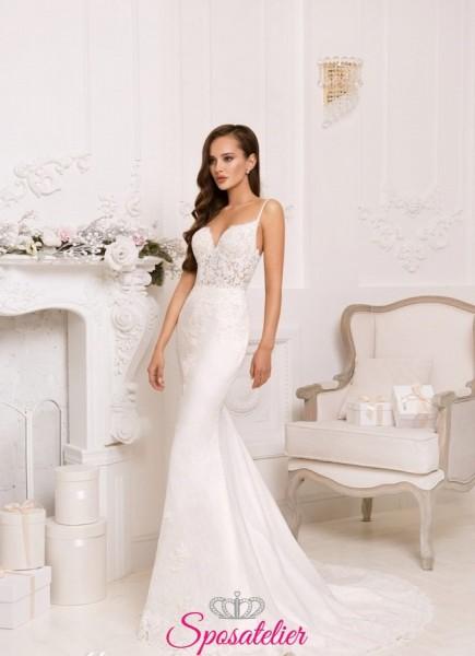 abiti da sposa in pizzo a sirena online prezzo economico collezione 2018