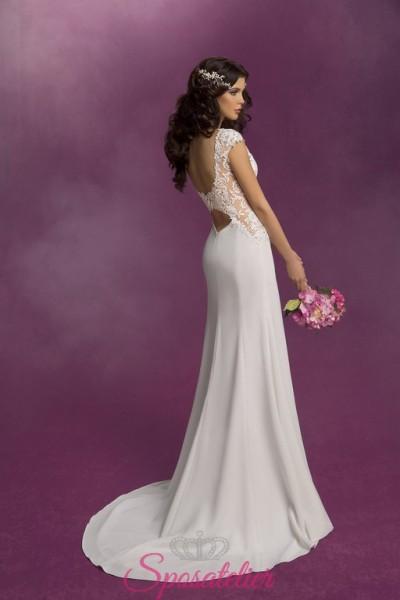 abiti da sposa scivolato in chiffon e ricami in pizzo elegante