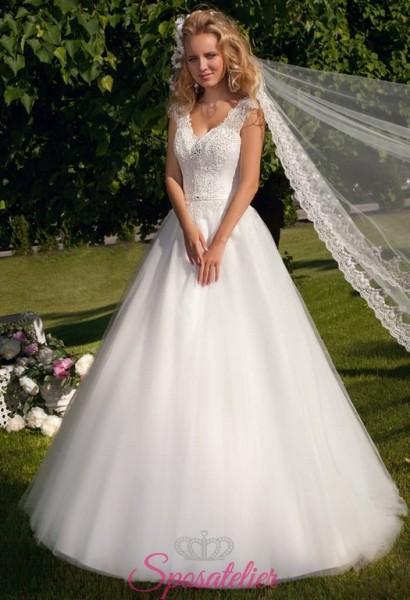 abito da sposa gonna a palloncino  scollo a V