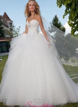 abiti da sposa 2018 con corpetto a cuore con strass e gonna vaporosa