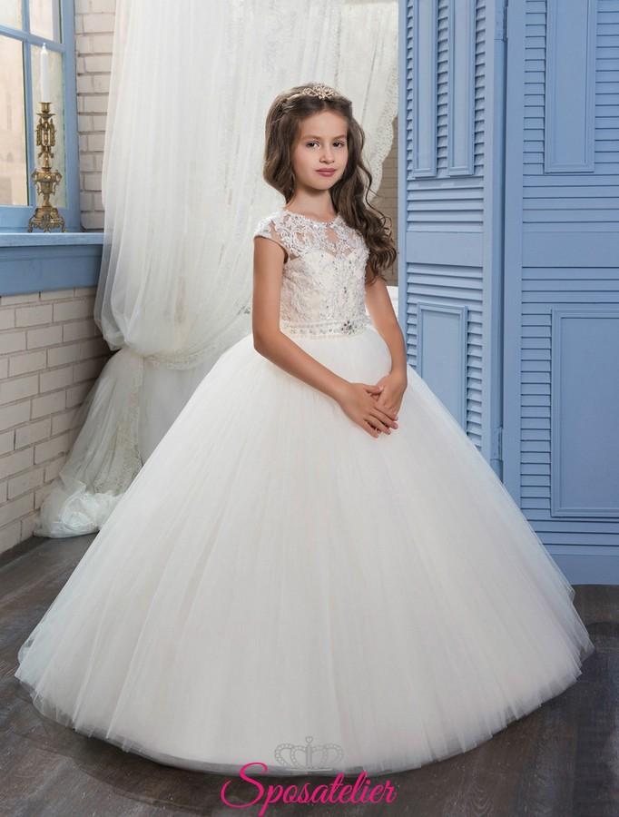 bbe8960200e9 ... prima comunione bambina con gonna rimovibile 2 in 1. abiti da comunione  bambina modello principessa ...