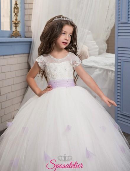 Vestiti prima comunione da bimba colorato bianco con cintura lilla