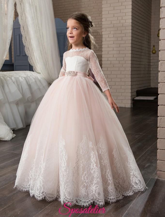 designer fashion e579a 1e7f6 Abito da comunione bambina 2017 con maniche lunghe in pizzo elegante