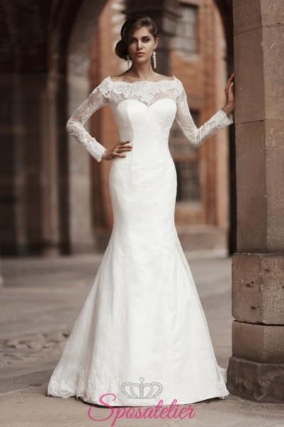 abiti da sposa mezza sirena con scollo a barchetta 2018