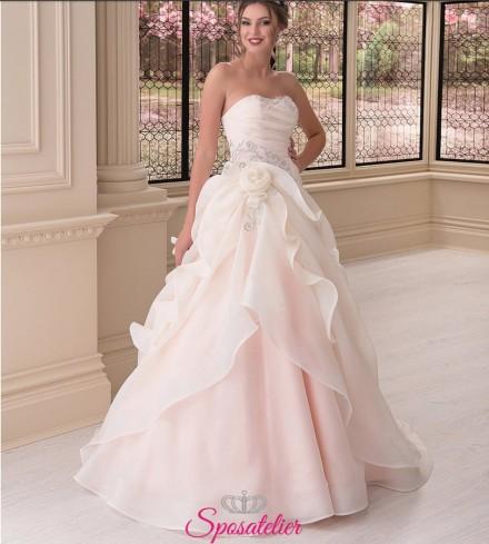 abito da sposa colorato  2018 rosa romantico economico online