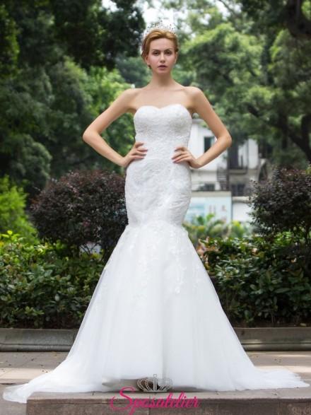 abiti da sposa a sirena con scollatura a cuore online Italia