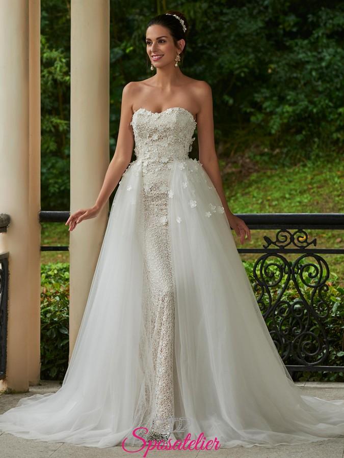 b8b6d6d491bb abiti da sposa a sirena con ricami in pizzo con gonna ampia removibile ...