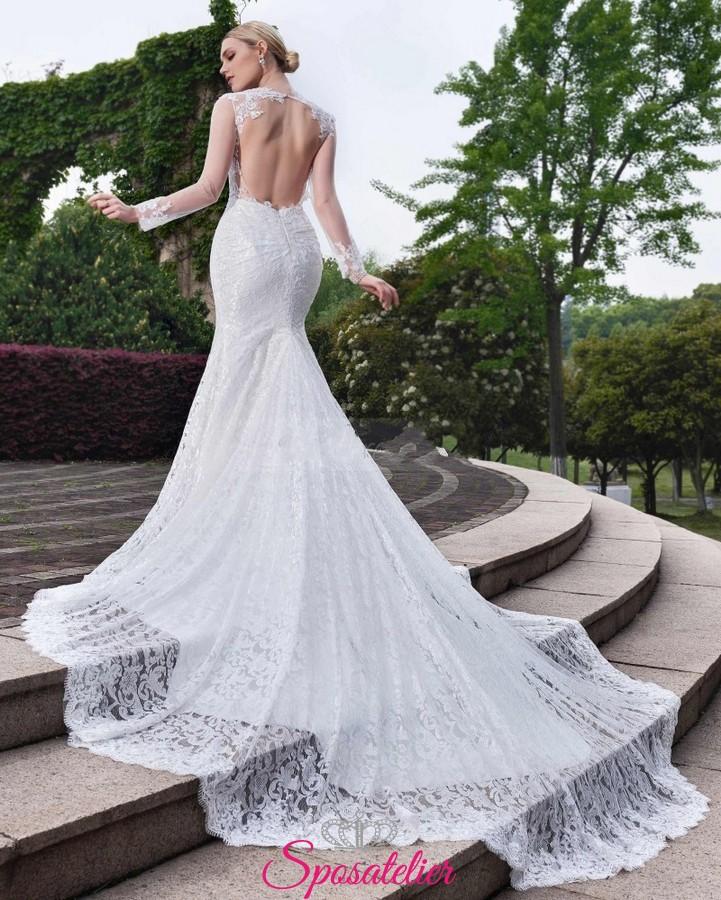 abito da sposa a sirena con strascico lungo in pizzo online e maniche lunghe 4467c545899