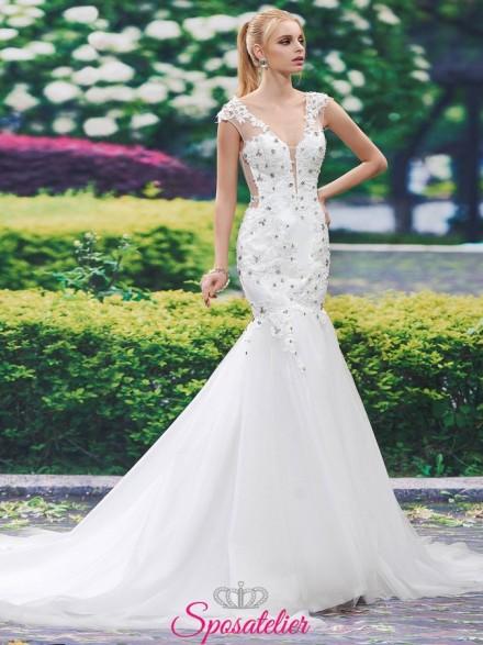 abiti da sposa a sirena con ricami in pizzo e strass online economici Italia