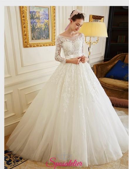 abiti da sposa online economici con scollatura omerale maniche di pizzo