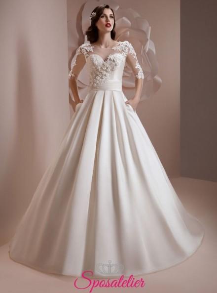 abiti da sposa 2018 con gonna in raso e corpetto con decorazioni