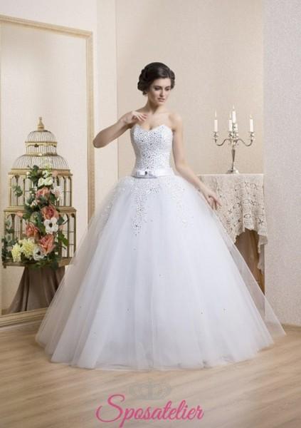 abito da sposa principesco con cintura colorata 2018 economico online