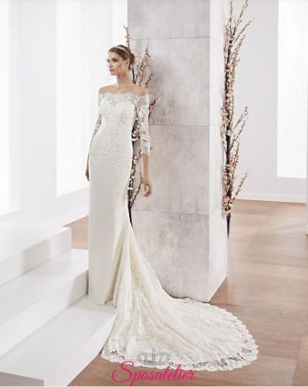 abito da sposa a sirena con strascico lungo e scollo a barchetta online economici
