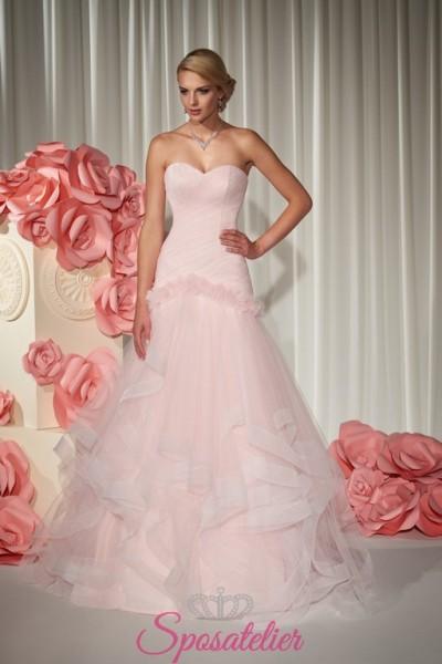 abito da sposa rosa 2018 economico online con balze
