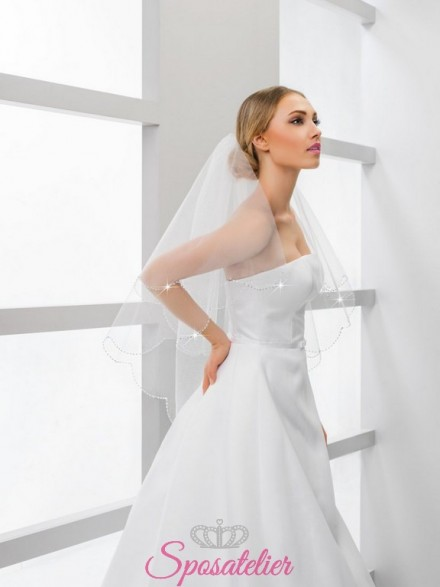 velo sposa corto con swarovski online economico