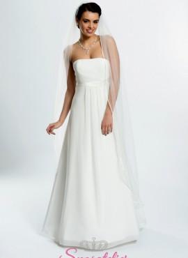 velo sposa on line economico con bordo sottile di raso a cappella